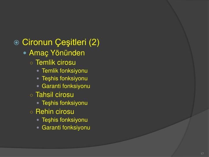 Cironun Çeşitleri (2)