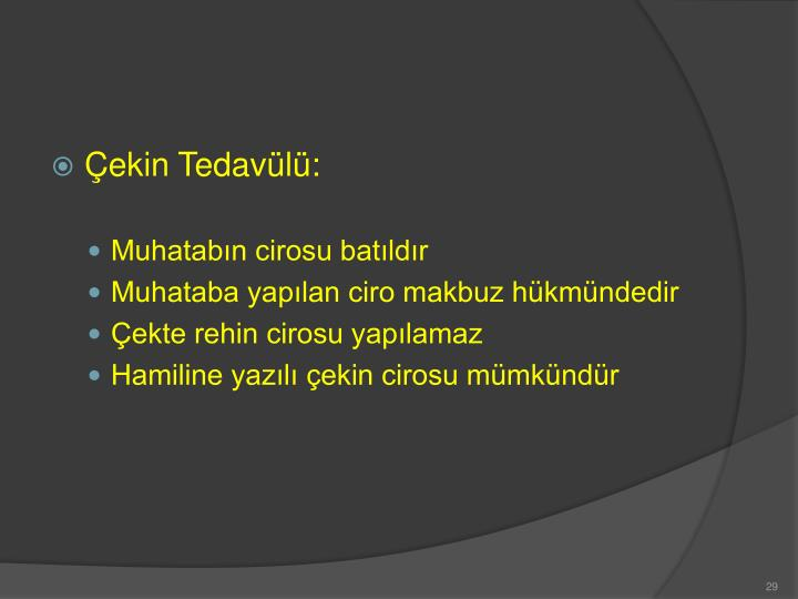 Çekin Tedavülü: