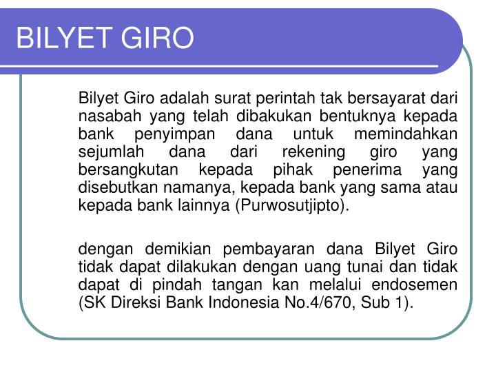BILYET GIRO