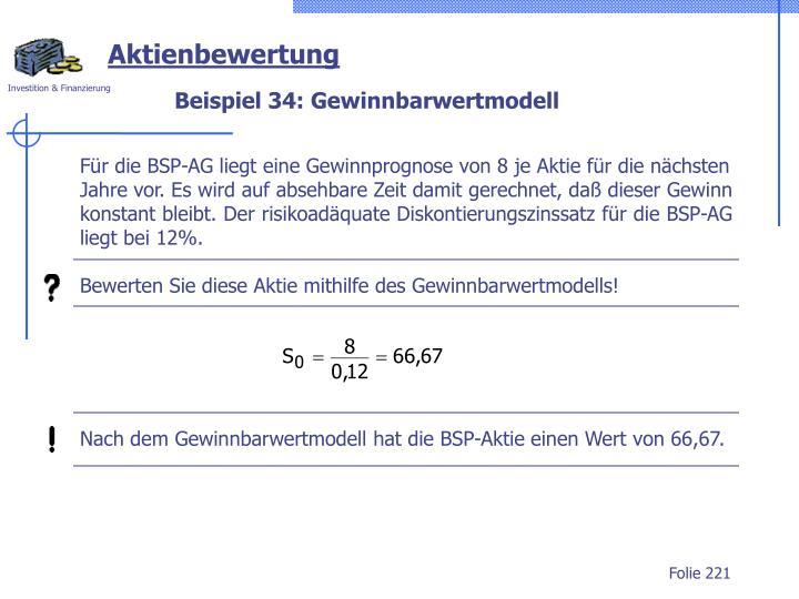 Beispiel 34: Gewinnbarwertmodell