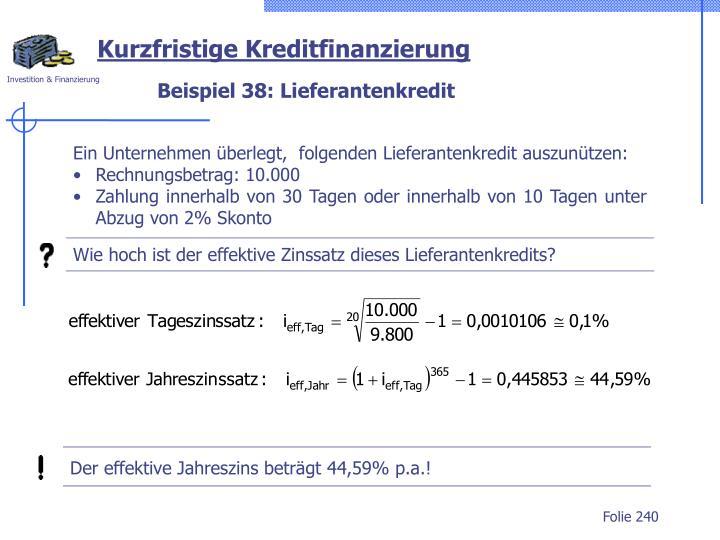 Der effektive Jahreszins beträgt 44,59% p.a.!
