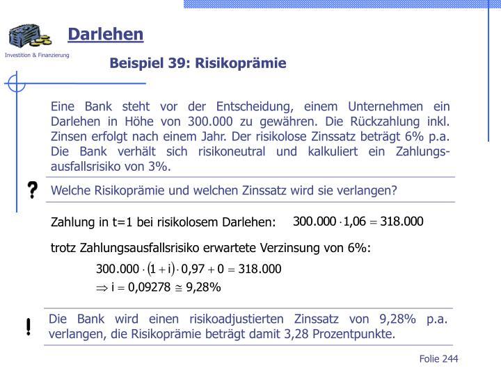 Zahlung in t=1 bei risikolosem Darlehen:
