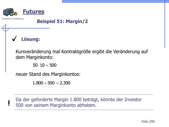 Da der geforderte Margin 1.800 beträgt, könnte der Investor 500 von seinem Marginkonto abheben.