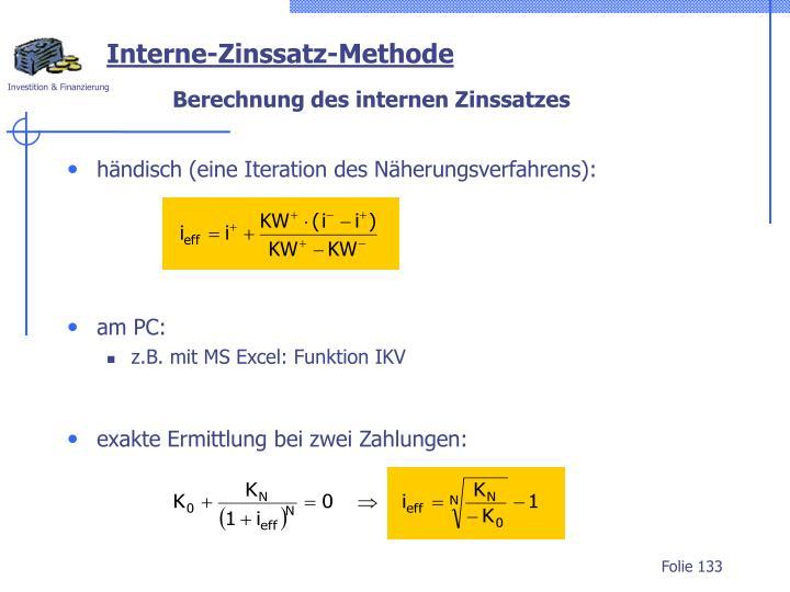händisch (eine Iteration des Näherungsverfahrens):