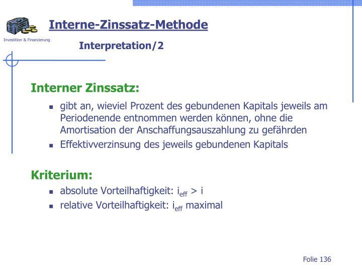 Interne-Zinssatz-Methode