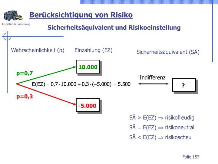 Wahrscheinlichkeit (p)      Einzahlung (EZ)