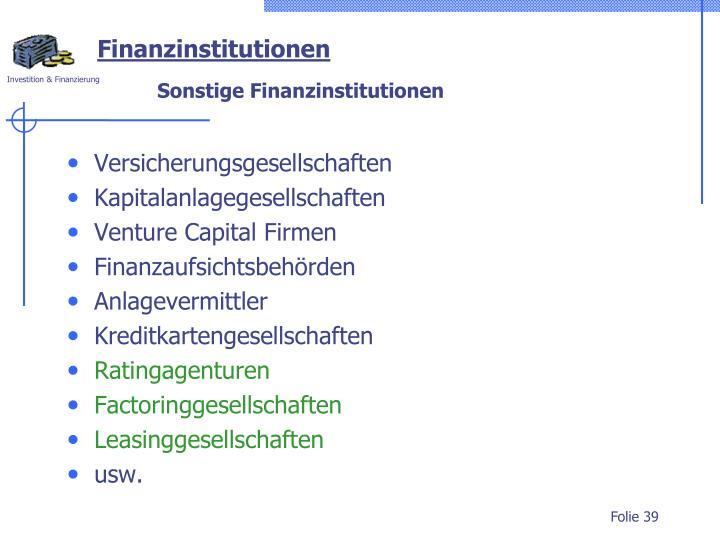 Finanzinstitutionen