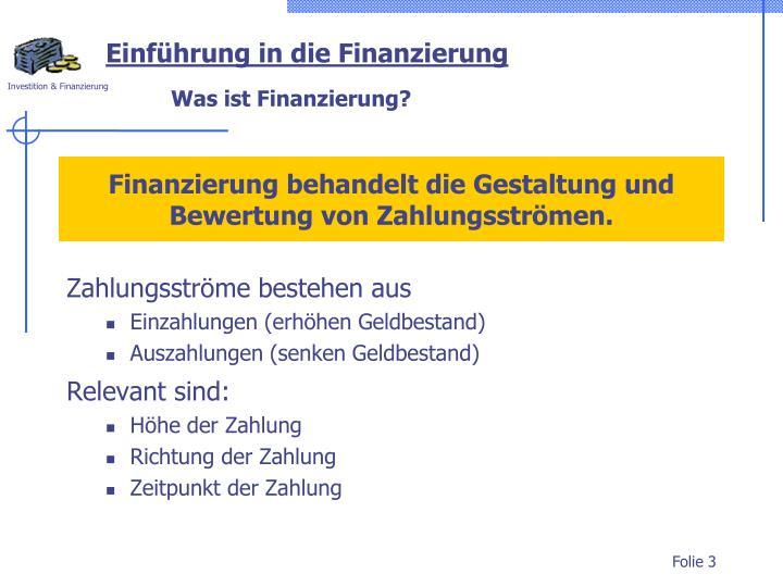 Einführung in die Finanzierung