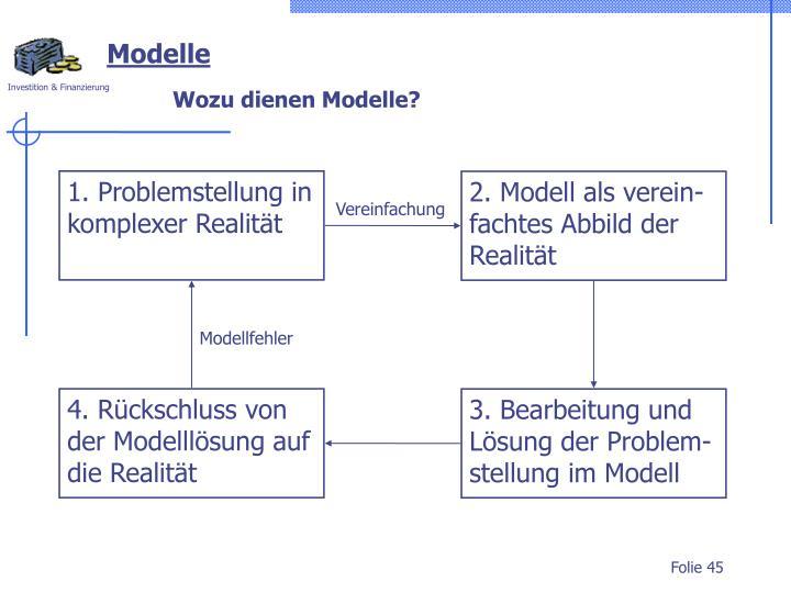 2. Modell als verein-fachtes Abbild der Realität