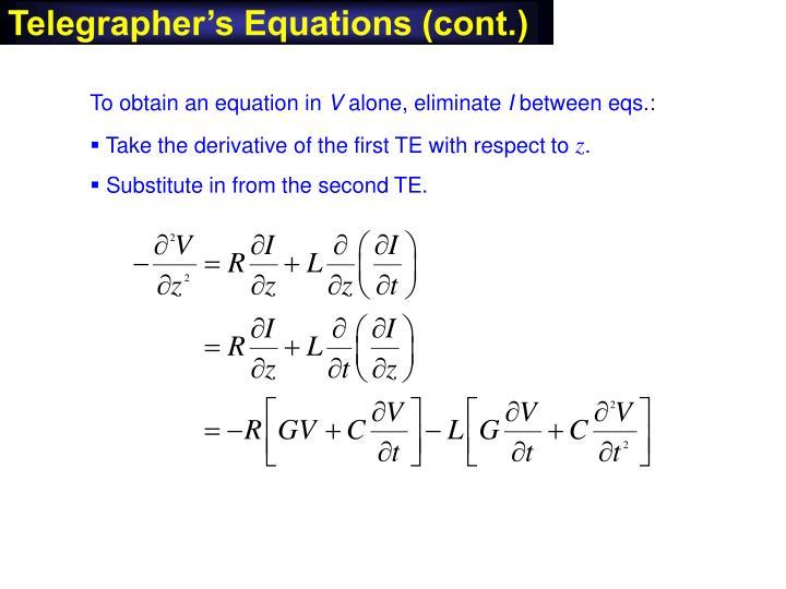 Telegrapher's Equations (cont.)