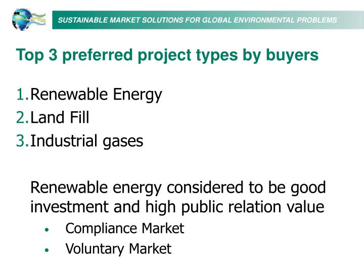 Top 3 preferred project types by buyers