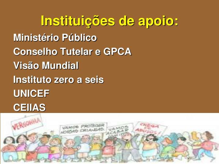 Instituições de apoio: