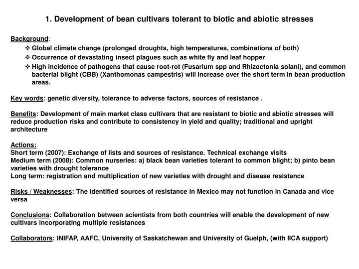1. Development of bean cultivars tolerant to biotic and abiotic stresses