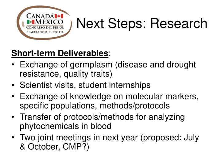 Next Steps: Research