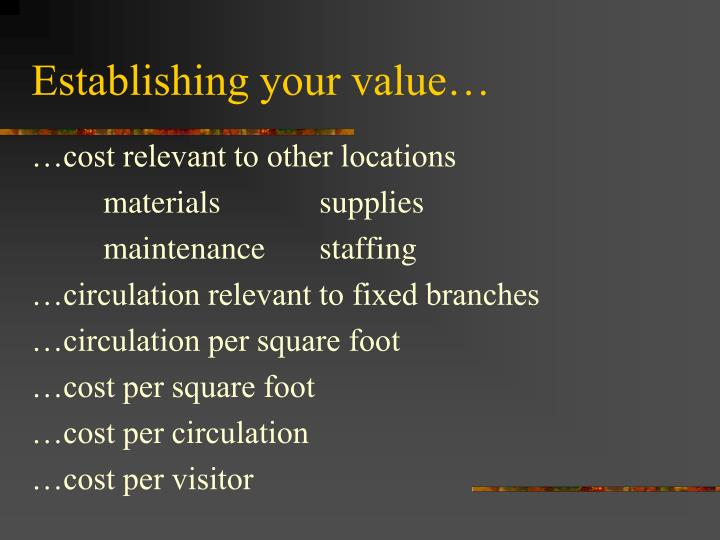 Establishing your value…