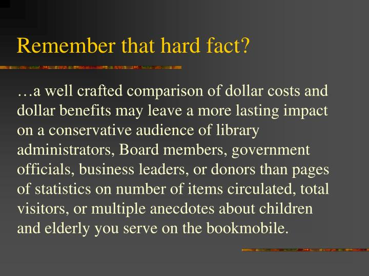 Remember that hard fact?