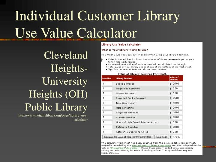 Individual Customer Library Use Value Calculator