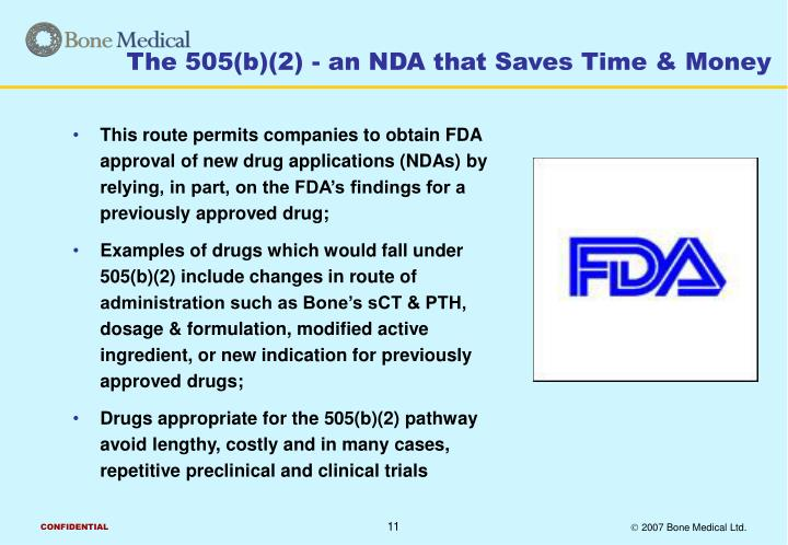 The 505(b)(2) - an NDA that Saves Time & Money