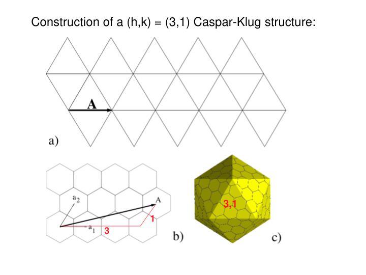 Construction of a (h,k) = (3,1) Caspar-Klug structure: