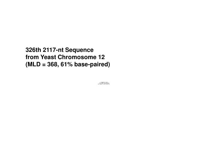 326th 2117-nt Sequence         from Yeast Chromosome 12         (MLD = 368, 61% base-paired)