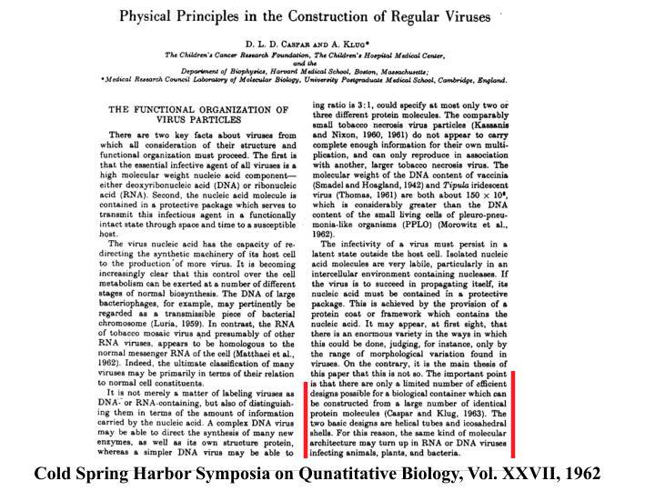 Cold Spring Harbor Symposia on Qunatitative Biology, Vol. XXVII, 1962