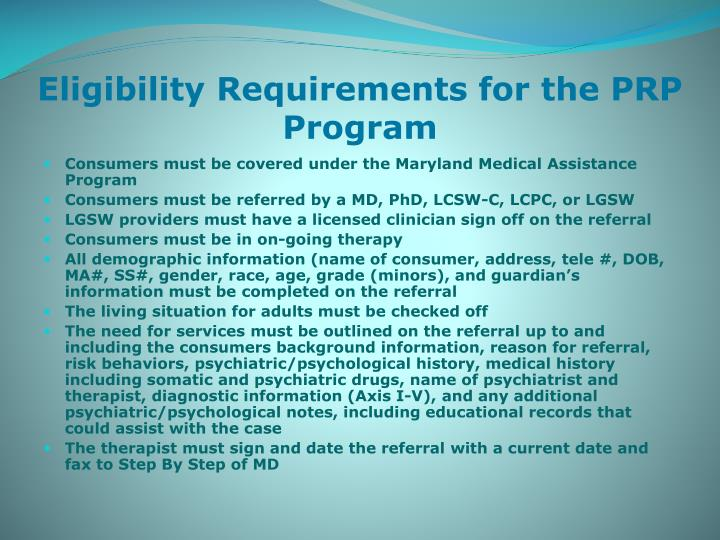 Eligibility Requirements for the PRP Program