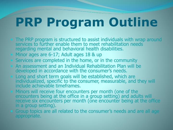 PRP Program Outline