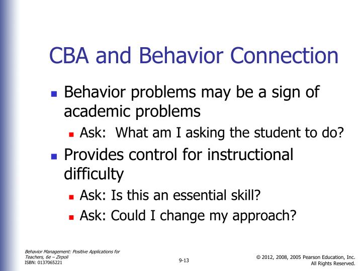 CBA and Behavior Connection