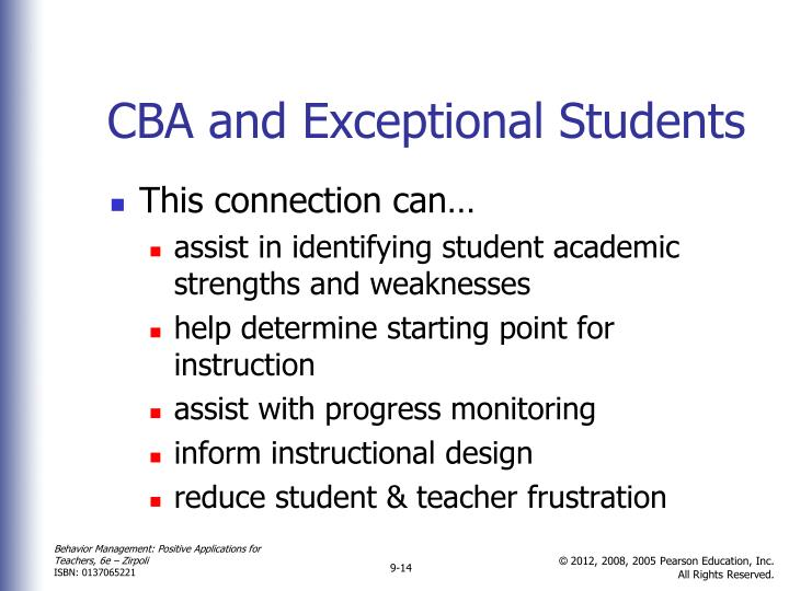 CBA and Exceptional Students