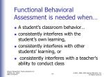 functional behavioral assessment is needed when