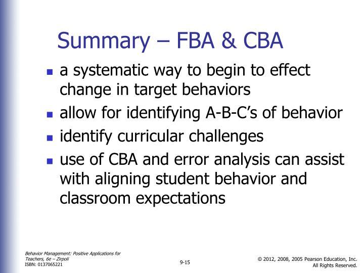 Summary – FBA & CBA