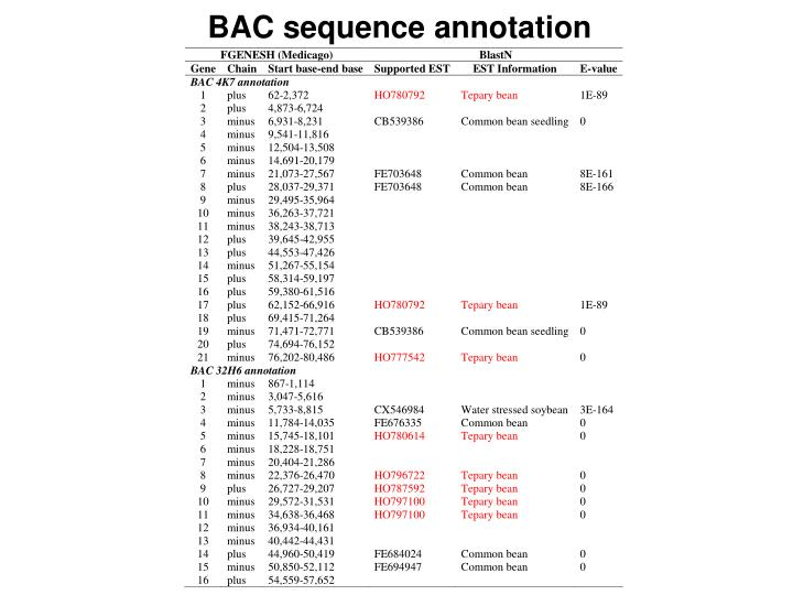 BAC sequence annotation