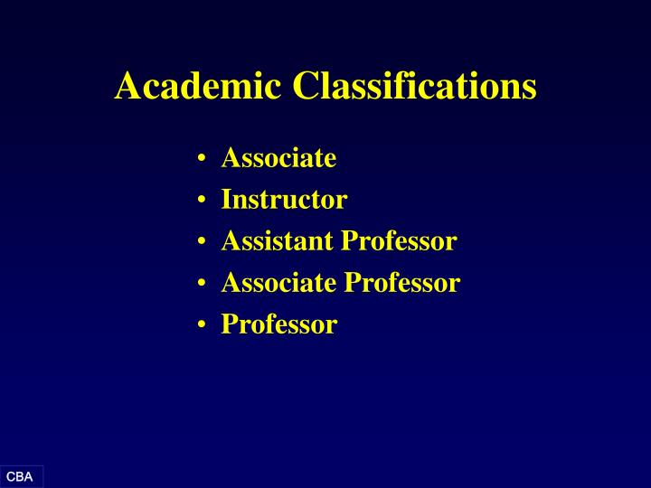 Academic Classifications