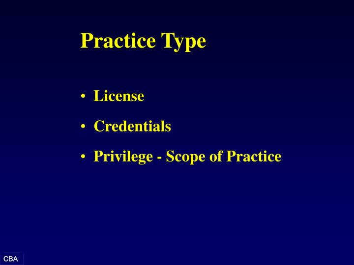 Practice Type