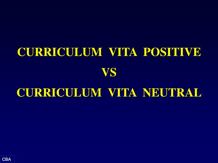 CURRICULUM  VITA  POSITIVE