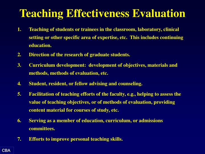 Teaching Effectiveness Evaluation