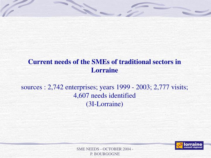 Current needs of the SMEs of traditional sectors in Lorraine