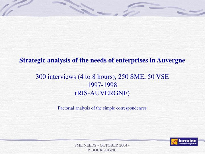 Strategic analysis of the needs of enterprises in Auvergne