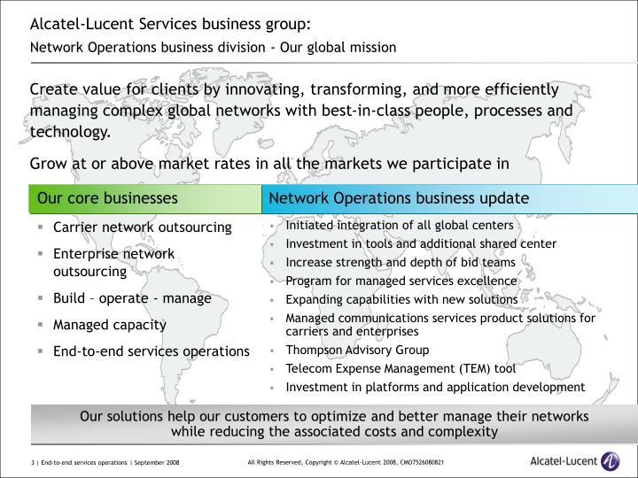 Alcatel lucent services business group network operations business division our global mission