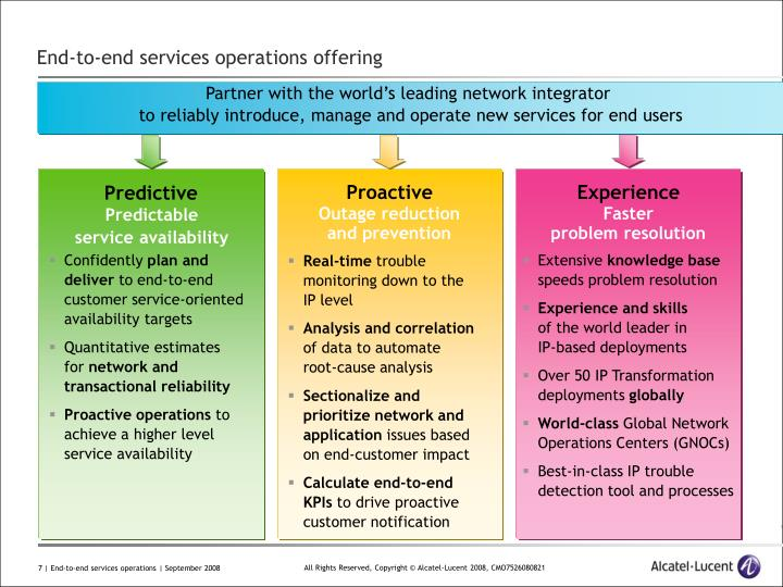 End-to-end services operations offering