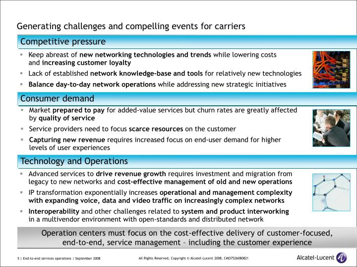 Generating challenges and compelling events for carriers