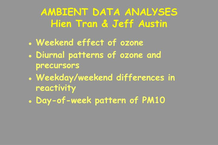 AMBIENT DATA ANALYSES