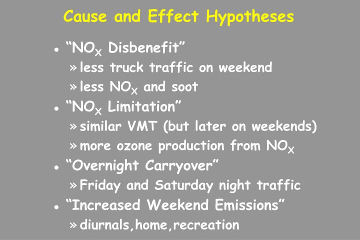 Cause and Effect Hypotheses