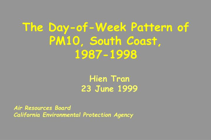 The Day-of-Week Pattern of PM10, South Coast,       1987-1998