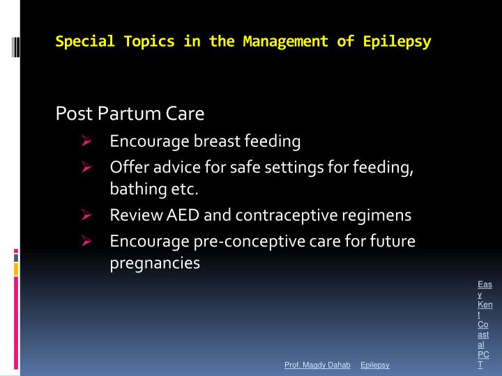 Special Topics in the Management of Epilepsy
