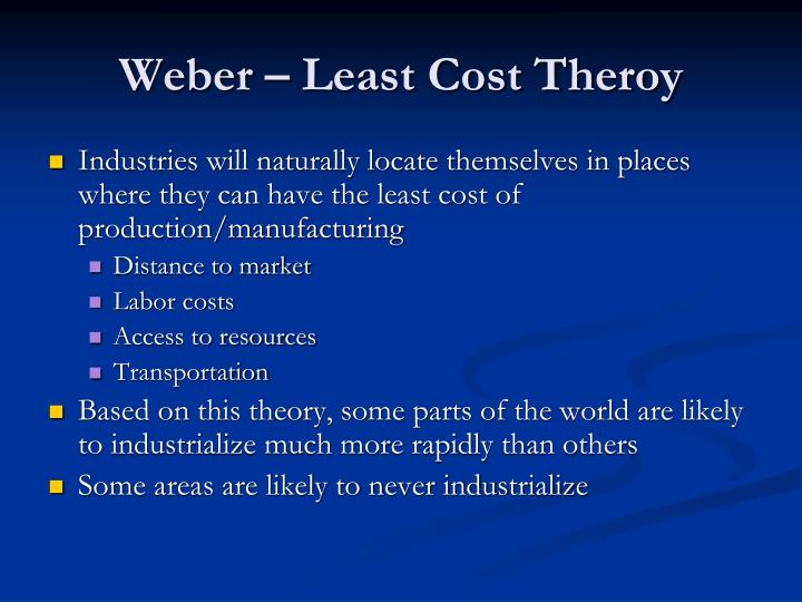 Weber – Least Cost Theroy
