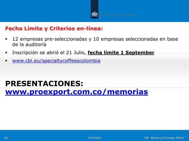 Fecha Límite y Criterios en-línea: