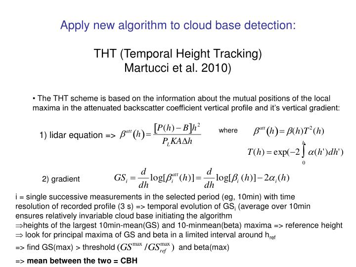 Apply new algorithm to cloud base detection: