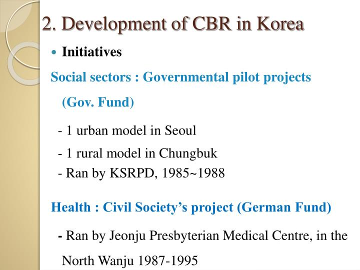 2. Development of CBR in Korea