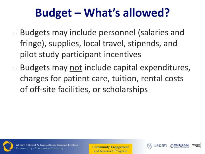 Budget – What's allowed?